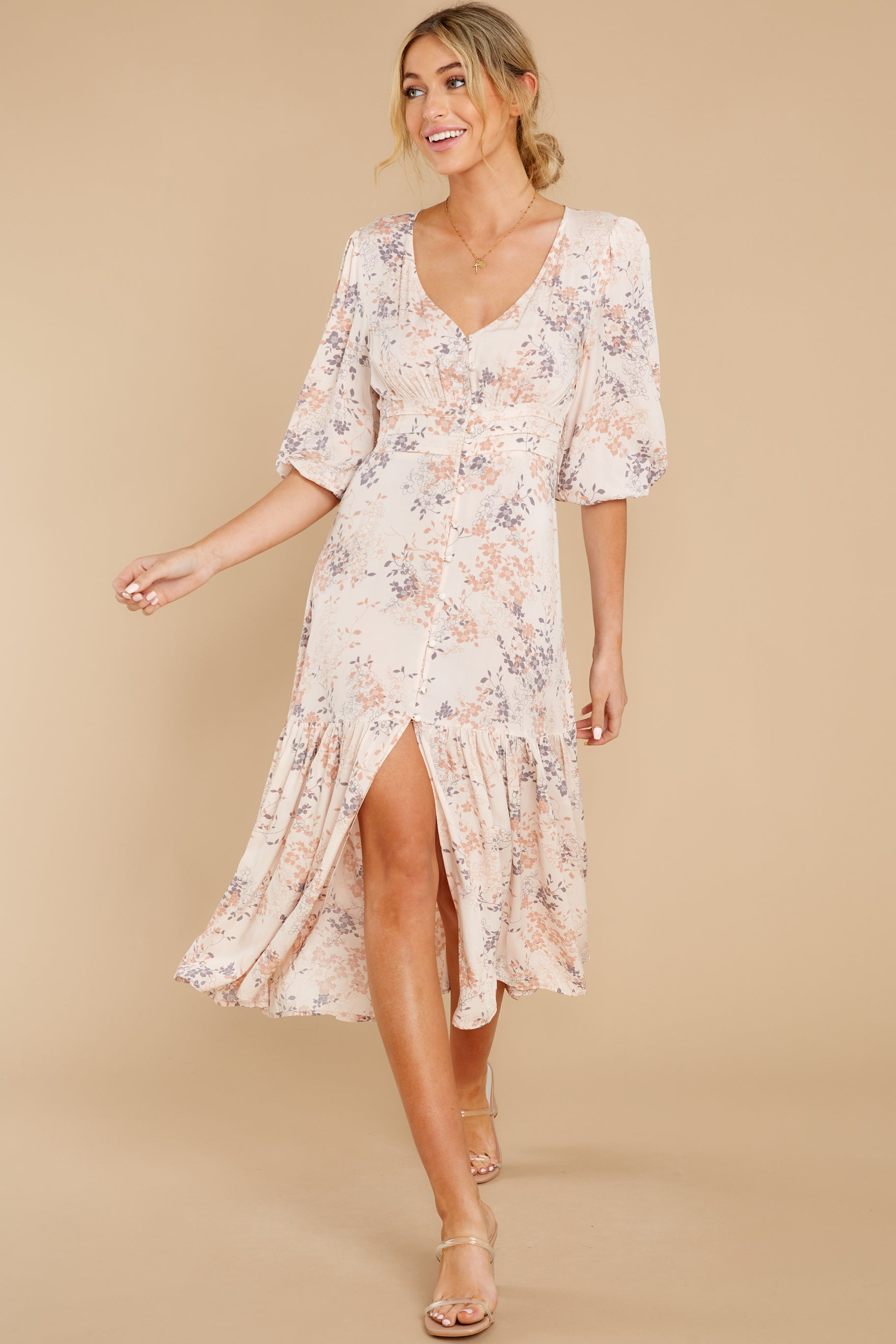 6 Love You More Blush Floral Print Maxi Dress at reddress.com