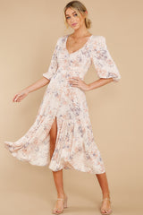 7 Love You More Blush Floral Print Maxi Dress at reddress.com