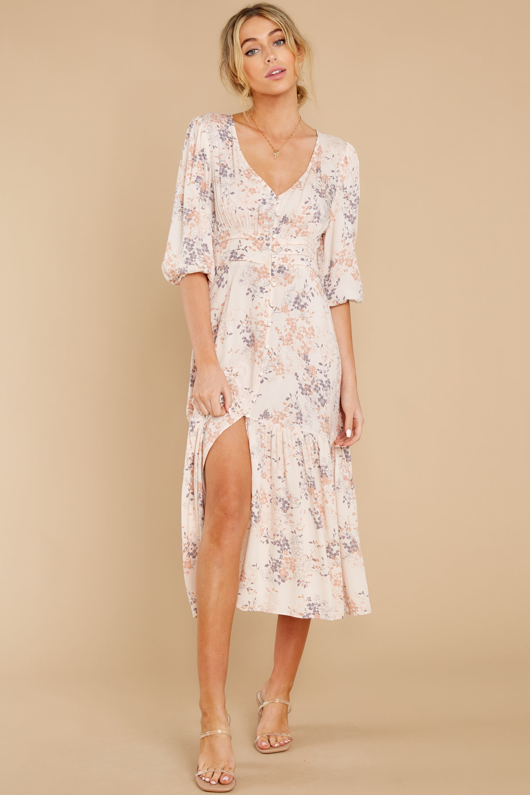 2 Love You More Blush Floral Print Maxi Dress at reddress.com