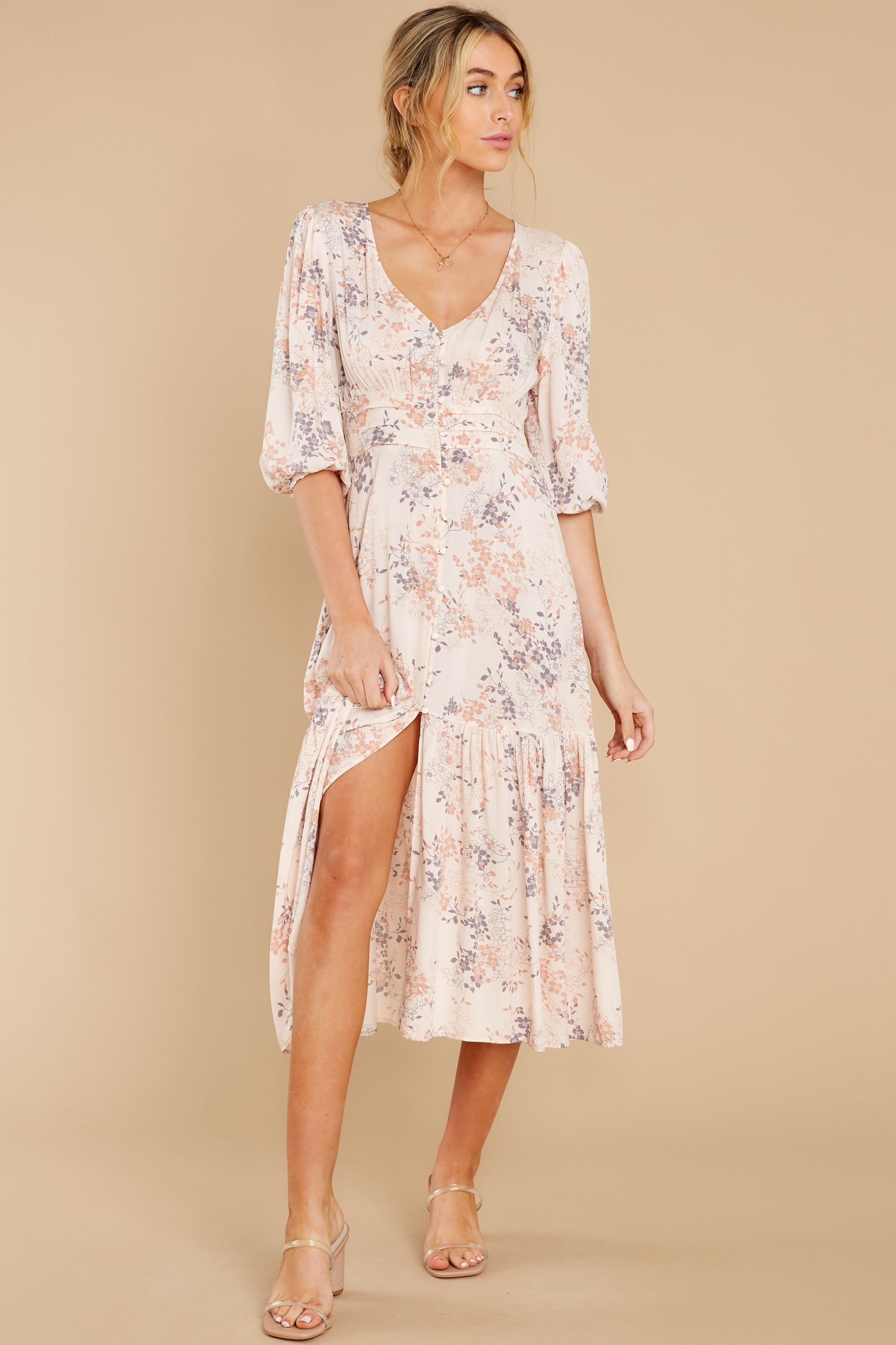 5 Love You More Blush Floral Print Maxi Dress at reddress.com