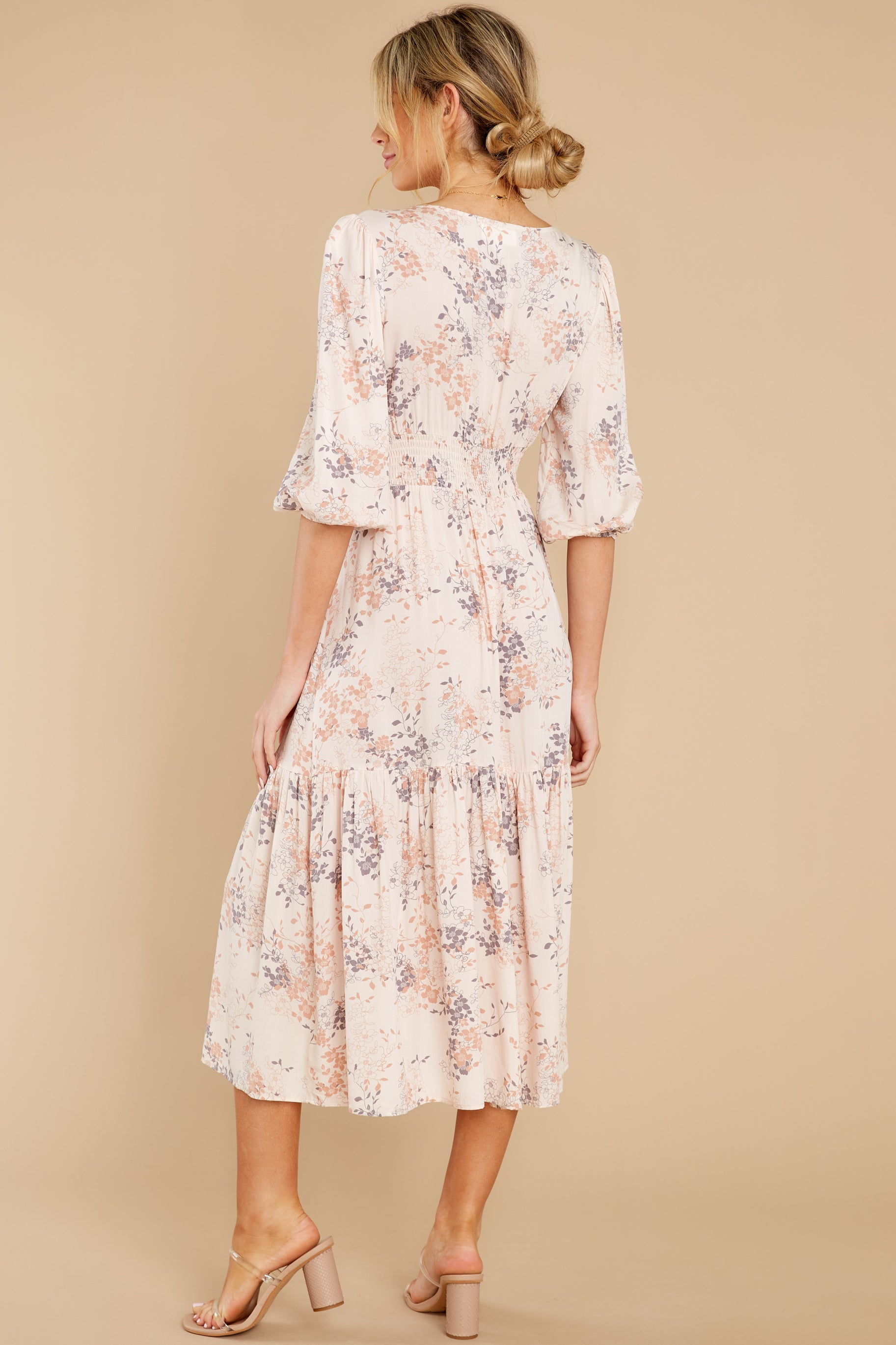 8 Love You More Blush Floral Print Maxi Dress at reddress.com