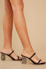 1 Noles Black Snakeskin High Heel Sandals at reddress.com