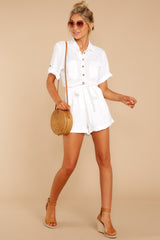 1 No Pouting White Romper at reddressboutique.com