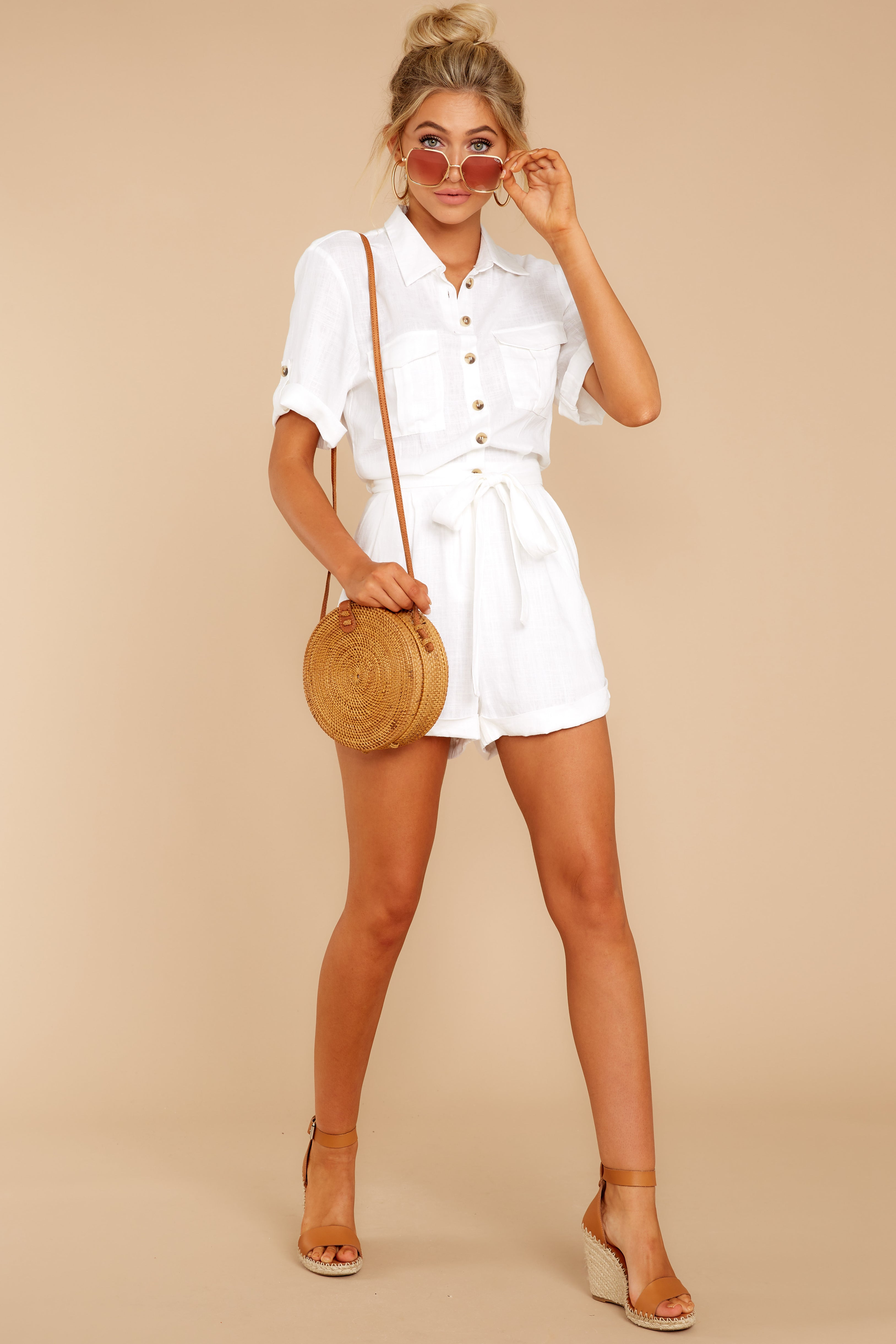 2 No Pouting White Romper at reddressboutique.com