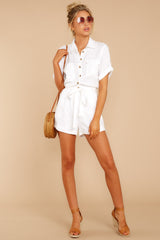 3 No Pouting White Romper at reddressboutique.com