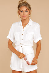 4 No Pouting White Romper at reddressboutique.com