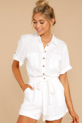 5 No Pouting White Romper at reddressboutique.com