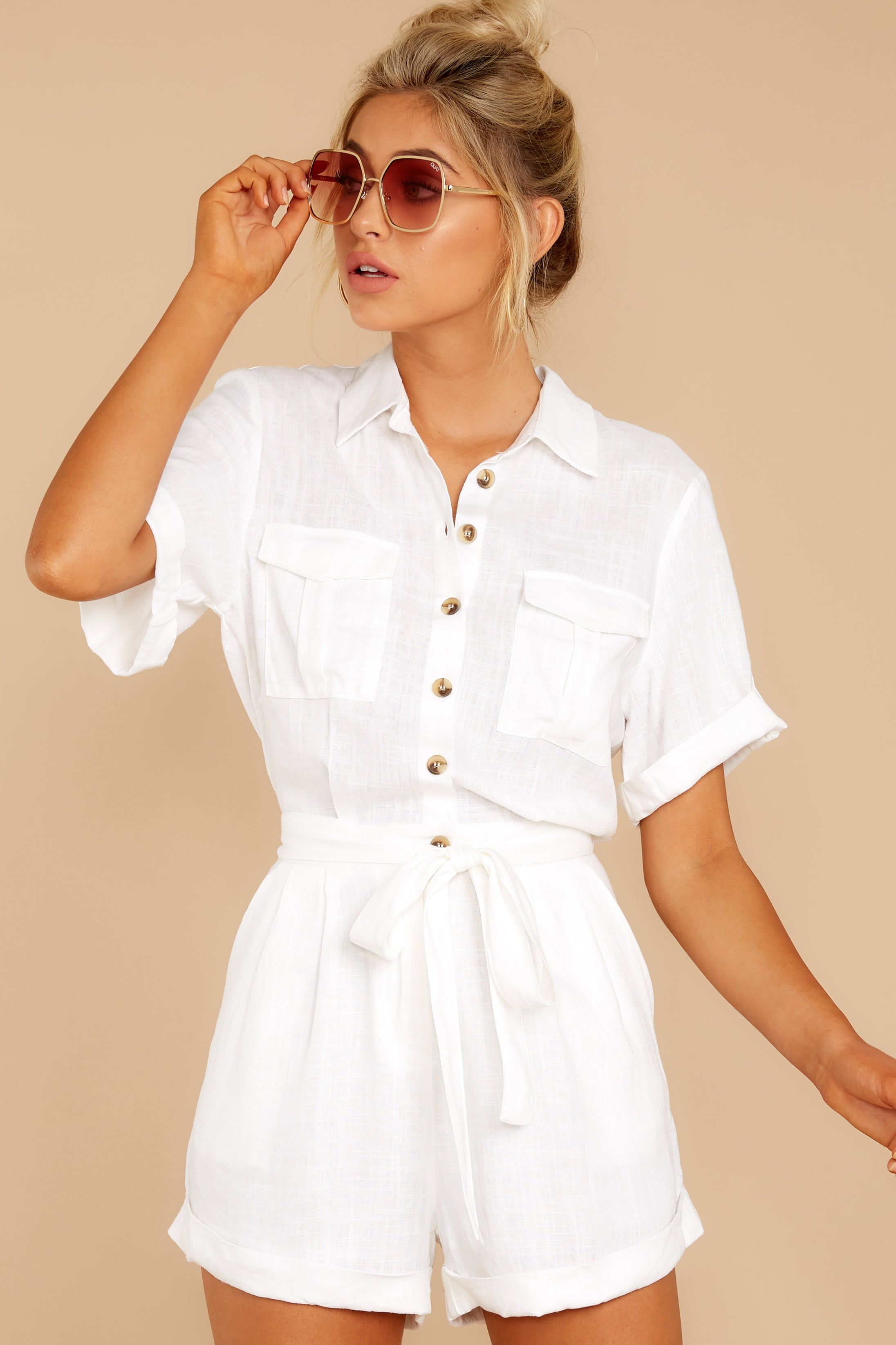 6 No Pouting White Romper at reddressboutique.com