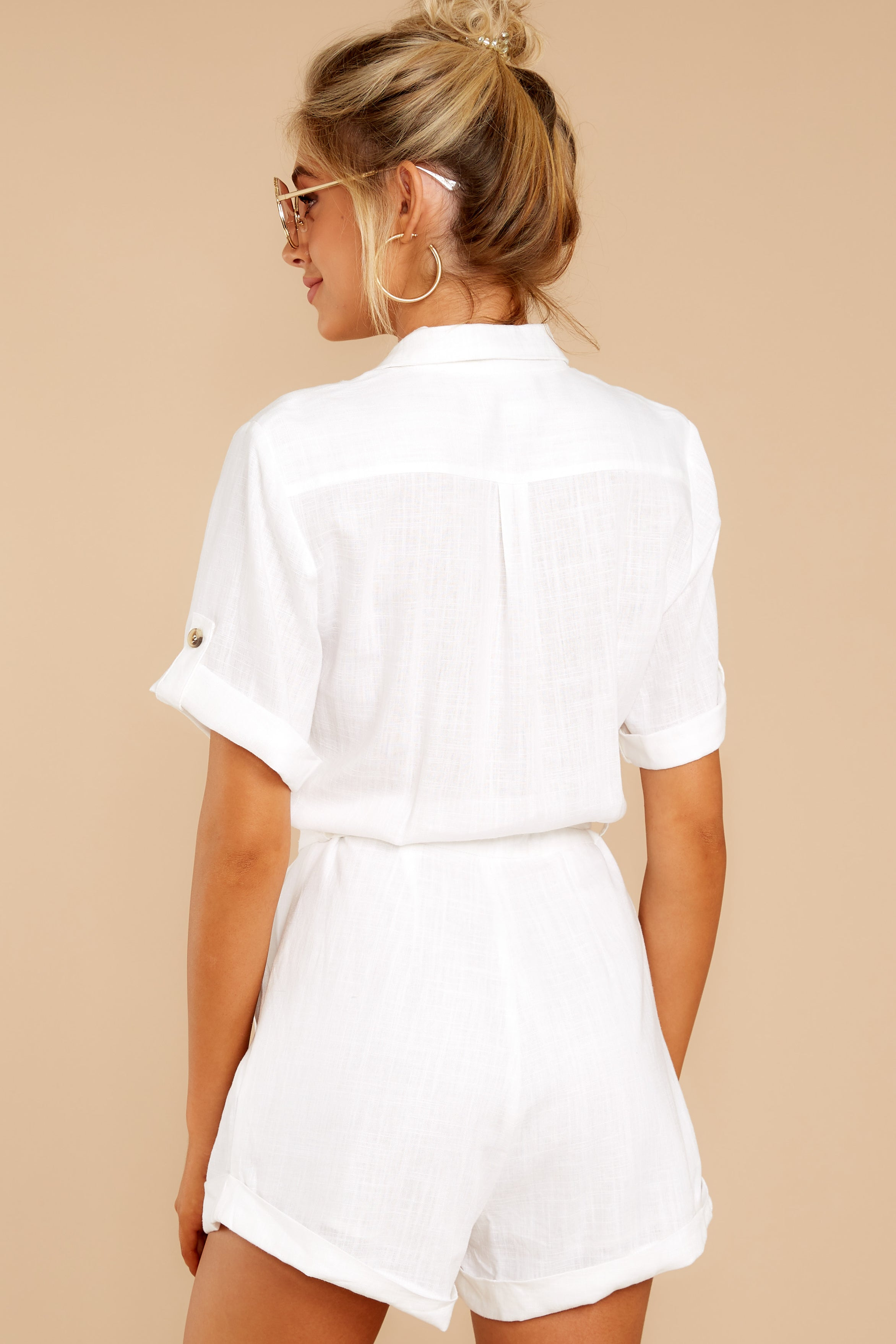 7 No Pouting White Romper at reddressboutique.com