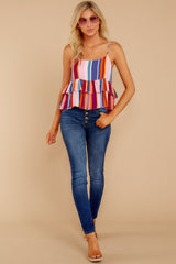 2 Directional Signs Pink Multi Stripe Top at reddressboutique.com