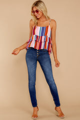 1 Directional Signs Pink Multi Stripe Top at reddressboutique.com