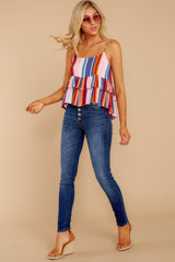 3 Directional Signs Pink Multi Stripe Top at reddressboutique.com