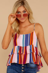4 Directional Signs Pink Multi Stripe Top at reddressboutique.com
