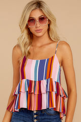 5 Directional Signs Pink Multi Stripe Top at reddressboutique.com