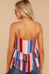 7 Directional Signs Pink Multi Stripe Top at reddressboutique.com