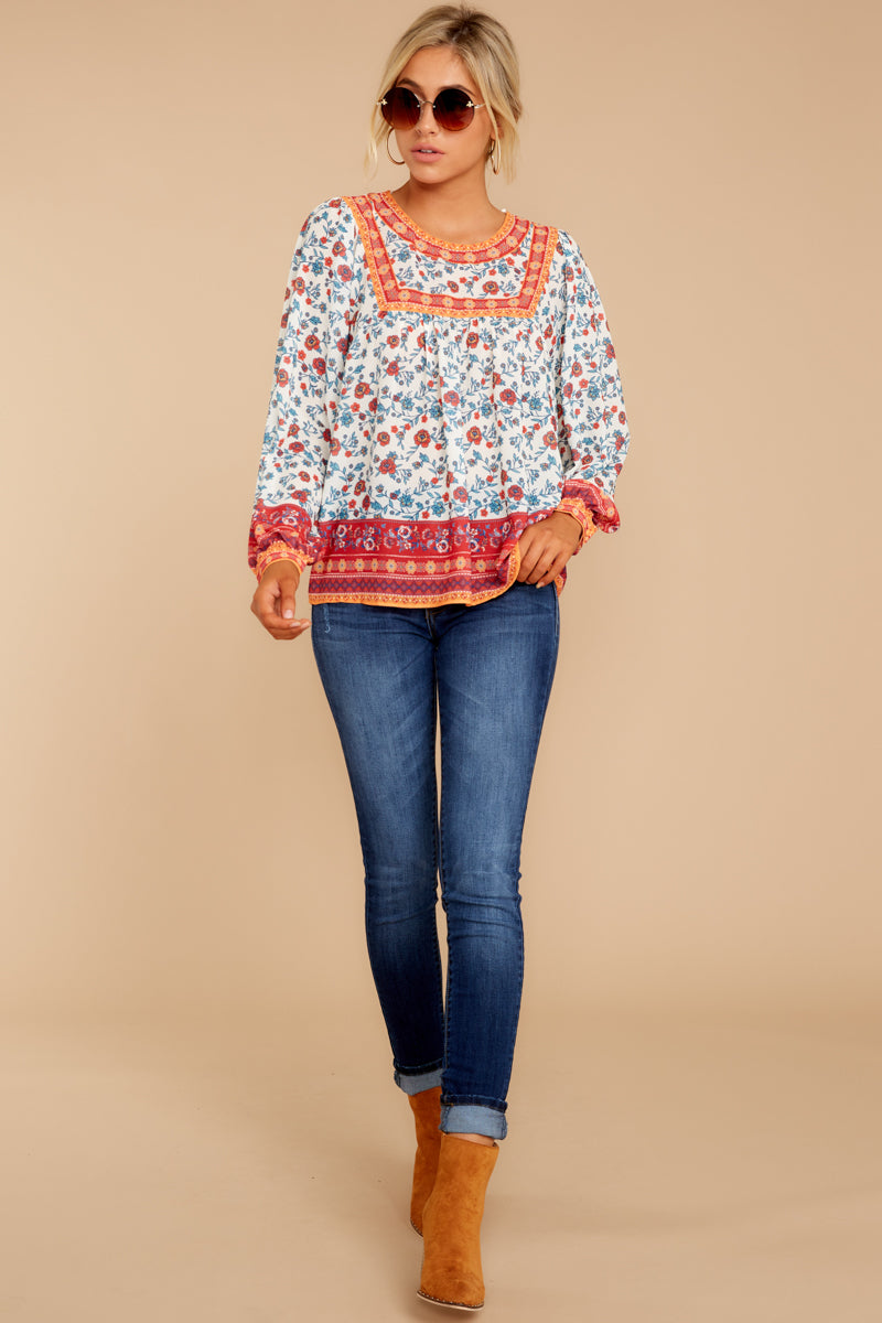 Fashionable Chatter Orange Floral Print Top