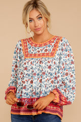 5 Fashionable Chatter Orange Floral Print Top at reddressboutique.com