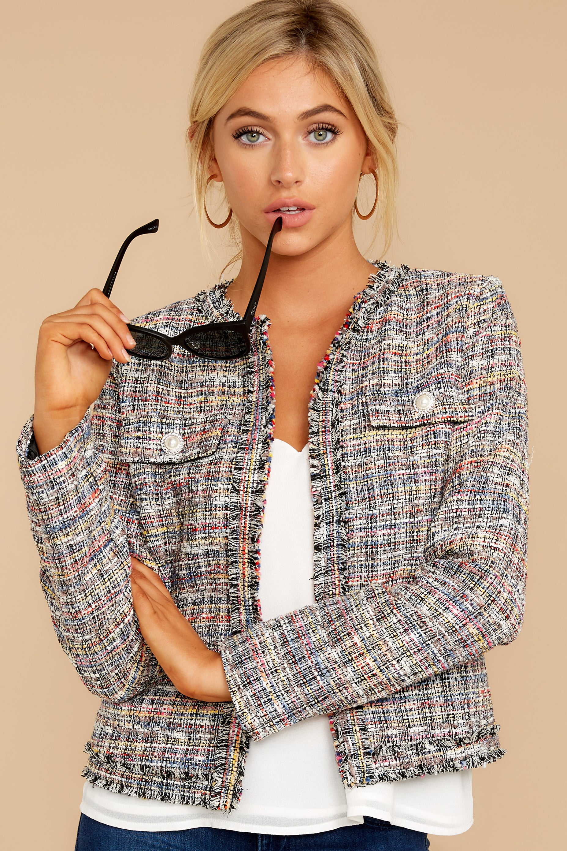 5 Aligned With Style Black Multi Tweed Jacket at reddressboutique.com