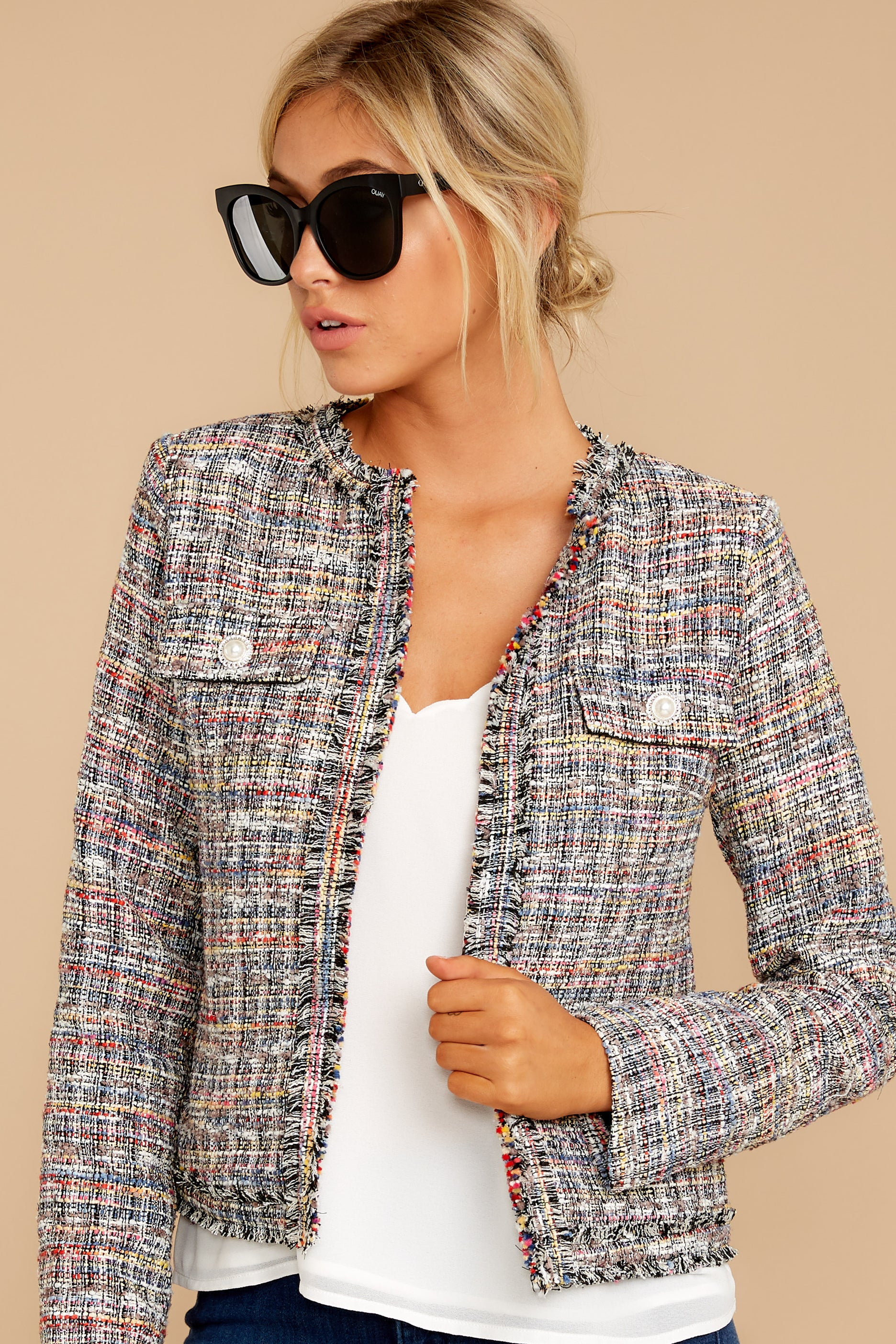 6 Aligned With Style Black Multi Tweed Jacket at reddressboutique.com