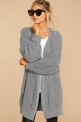 6 Comfort Basis Grey Cardigan at reddressboutique.com