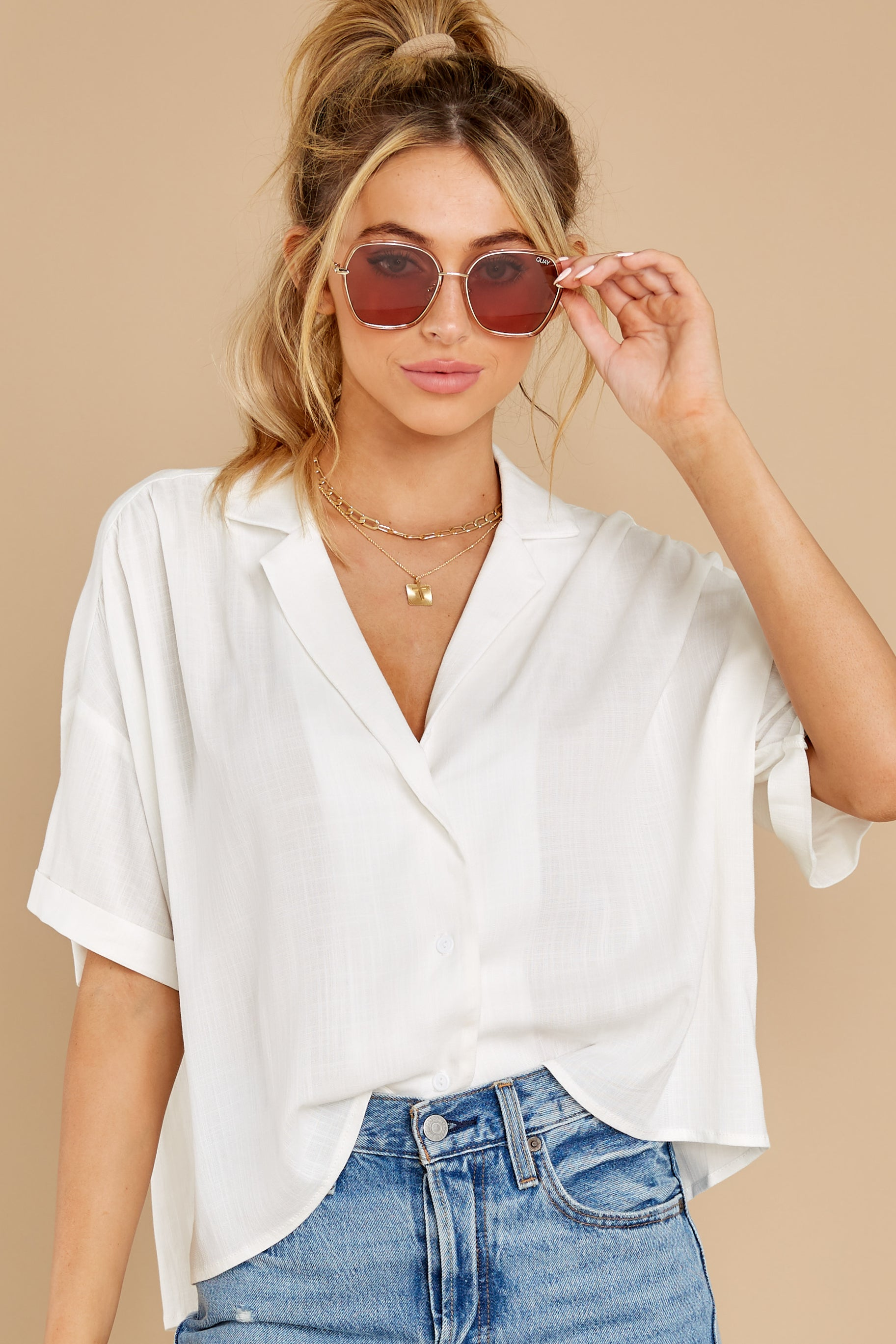 4 Love On You White Top at reddress.com