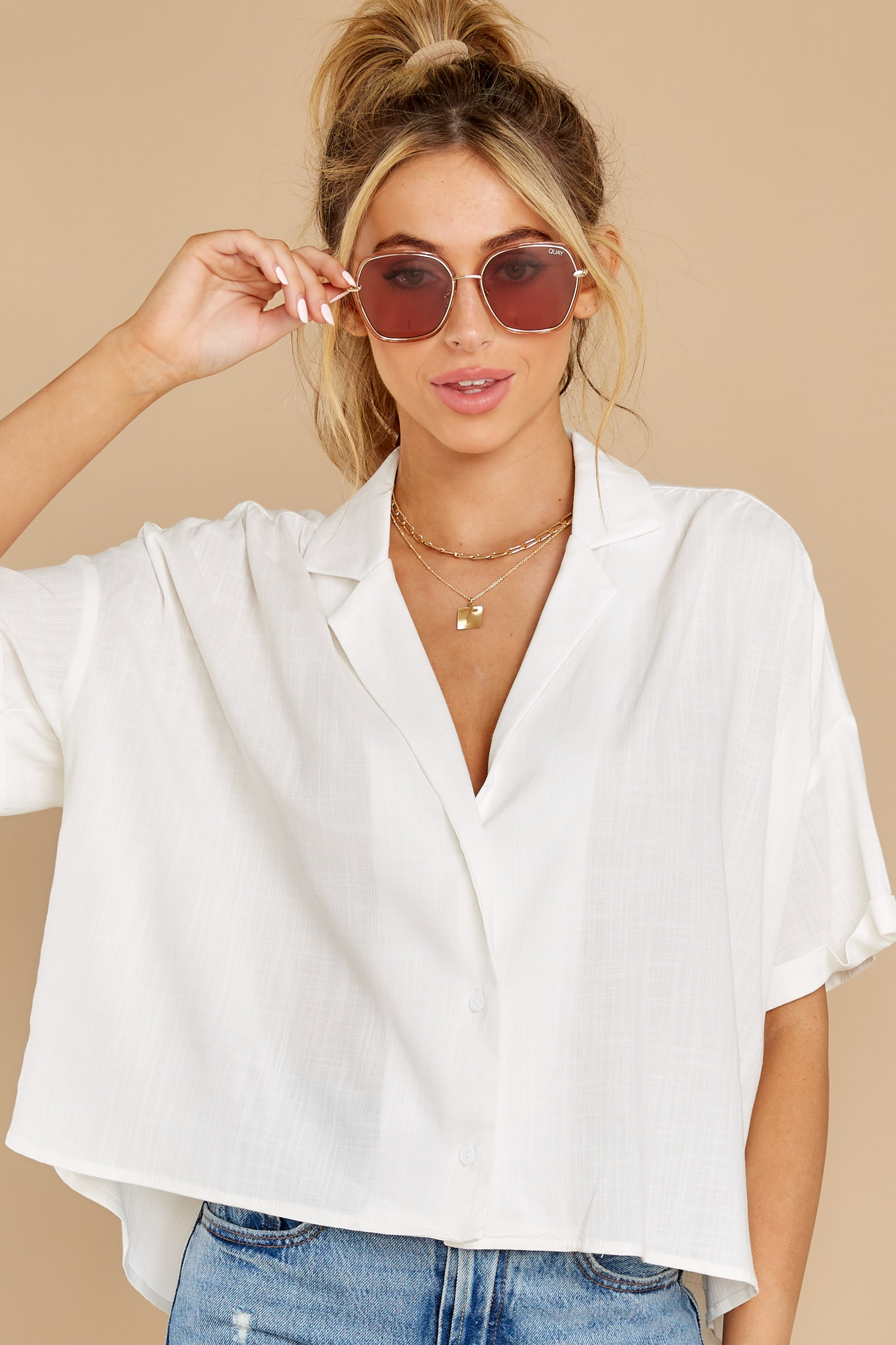 7 Love On You White Top at reddress.com