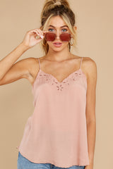 6 Lover Lane Blush Pink Eyelet Tank Top at reddress.com