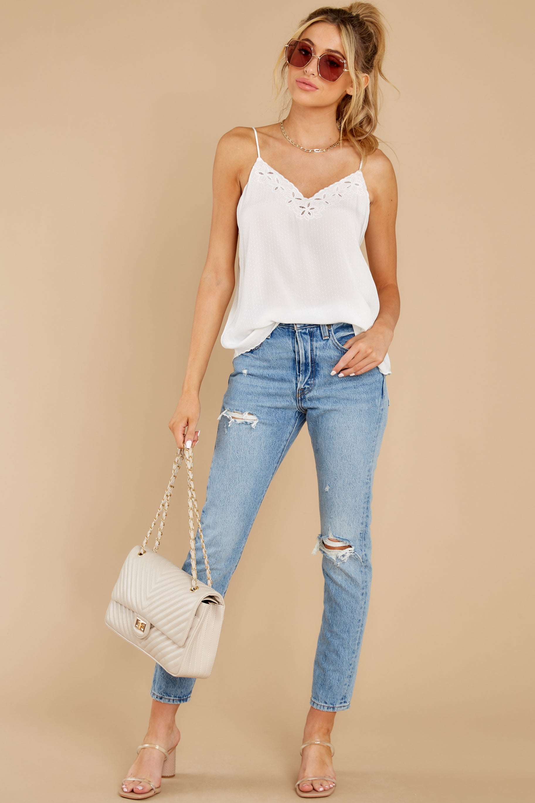 3 Lover Lane White Eyelet Tank Top at reddress.com