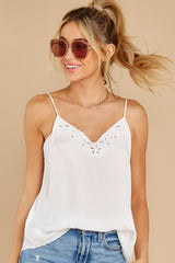 2 Lover Lane White Eyelet Tank Top at reddress.com