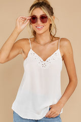 6 Lover Lane White Eyelet Tank Top at reddress.com