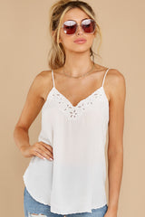 7 Lover Lane White Eyelet Tank Top at reddress.com