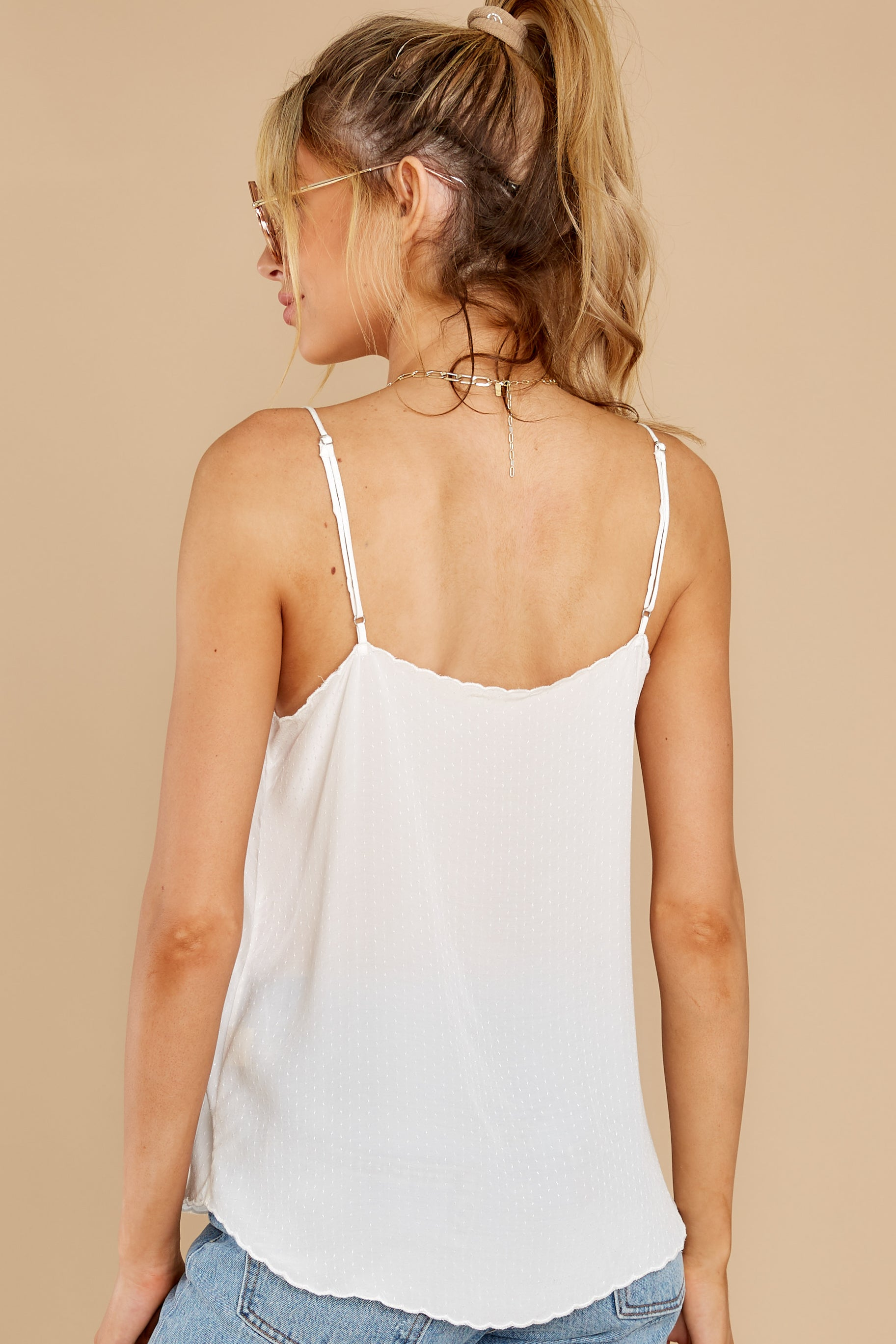 8 Lover Lane White Eyelet Tank Top at reddress.com
