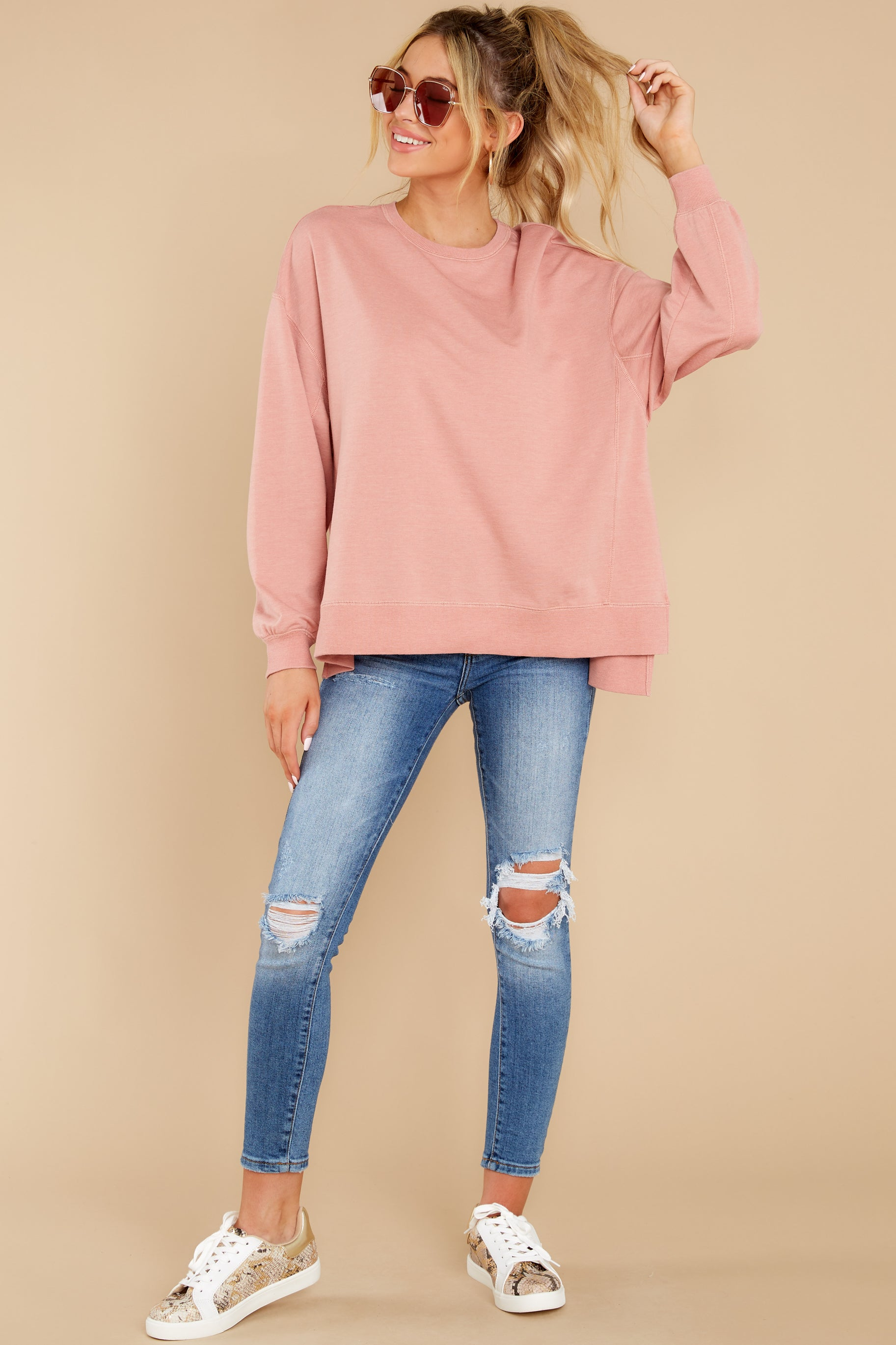 Z Supply Pink Top Oversized French Terry Pullover Tops 52 00