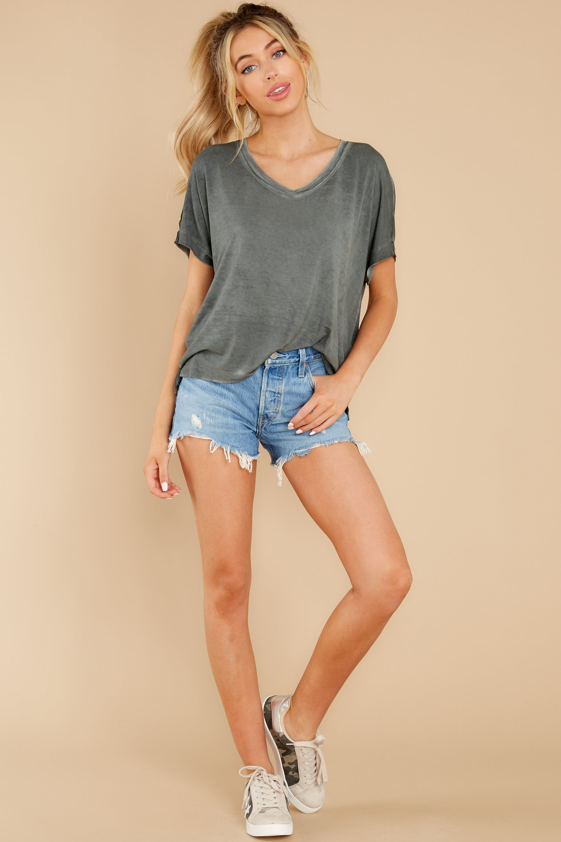 4  Mischa Sleek Ash Green V-Neck Tee at reddress.com