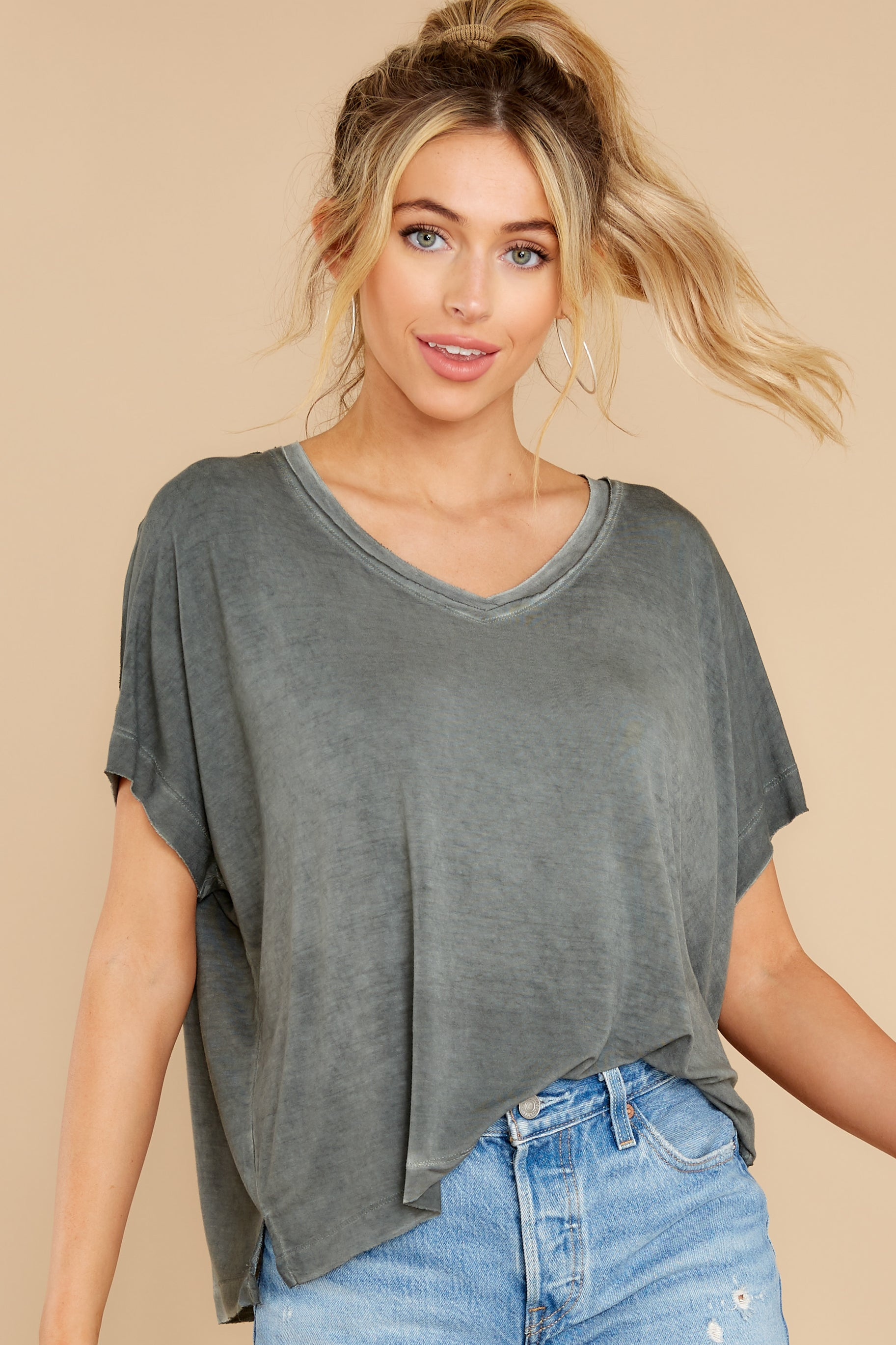1 Mischa Sleek Ash Green V-Neck Tee at reddress.com
