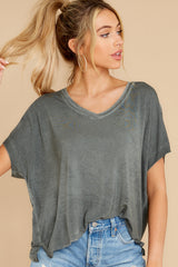 6 Mischa Sleek Ash Green V-Neck Tee at reddress.com