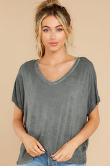 5 Mischa Sleek Ash Green V-Neck Tee at reddress.com
