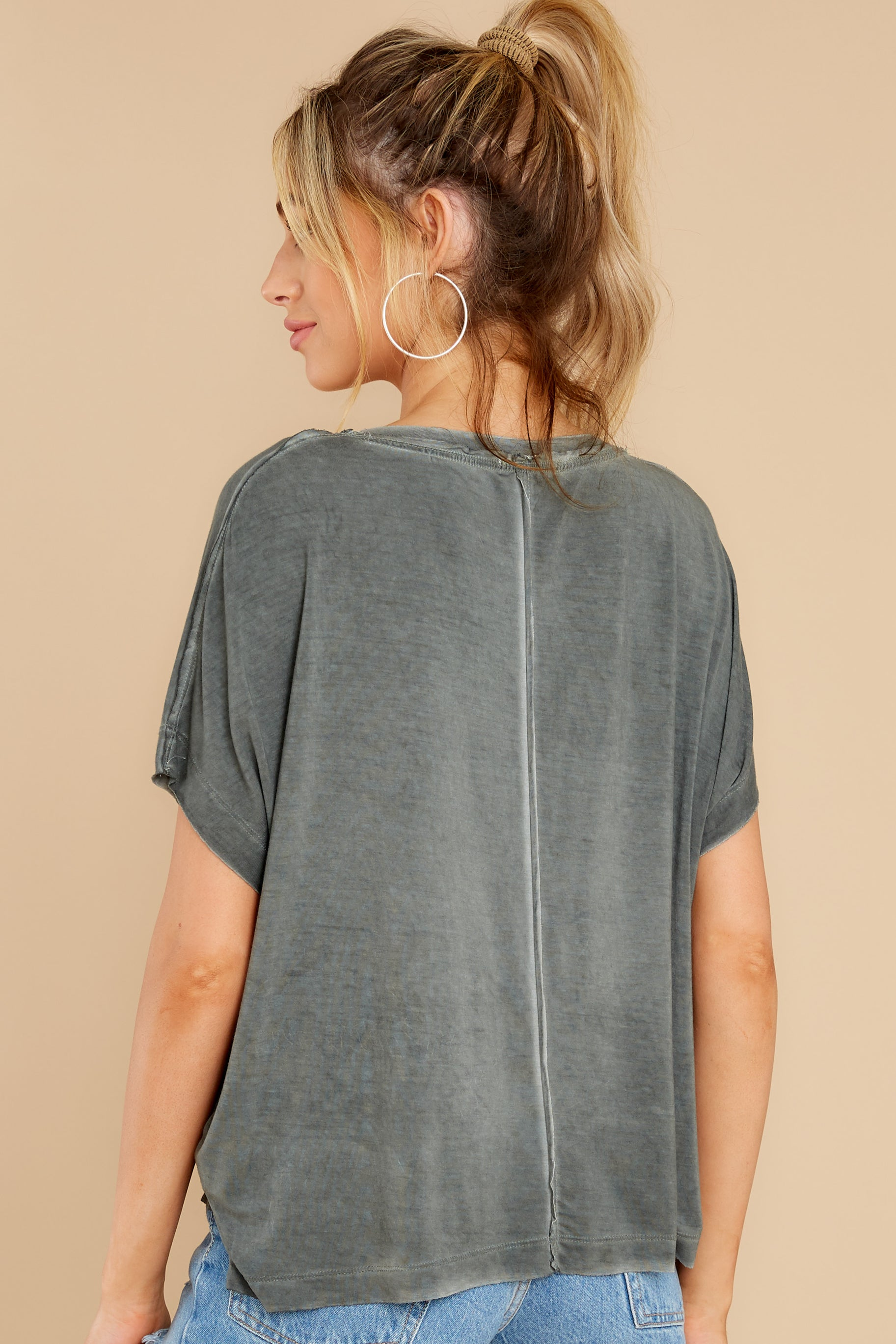 7 Mischa Sleek Ash Green V-Neck Tee at reddress.com