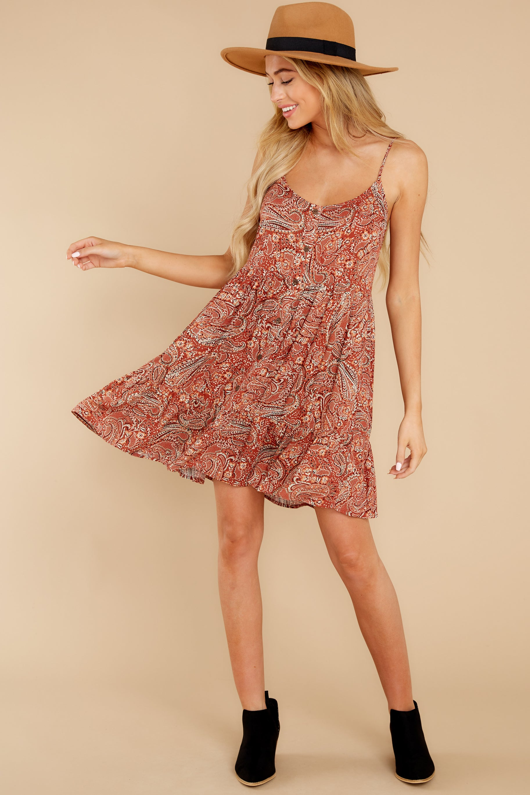 3 On Second Thought Rust Print Dress at reddress.com