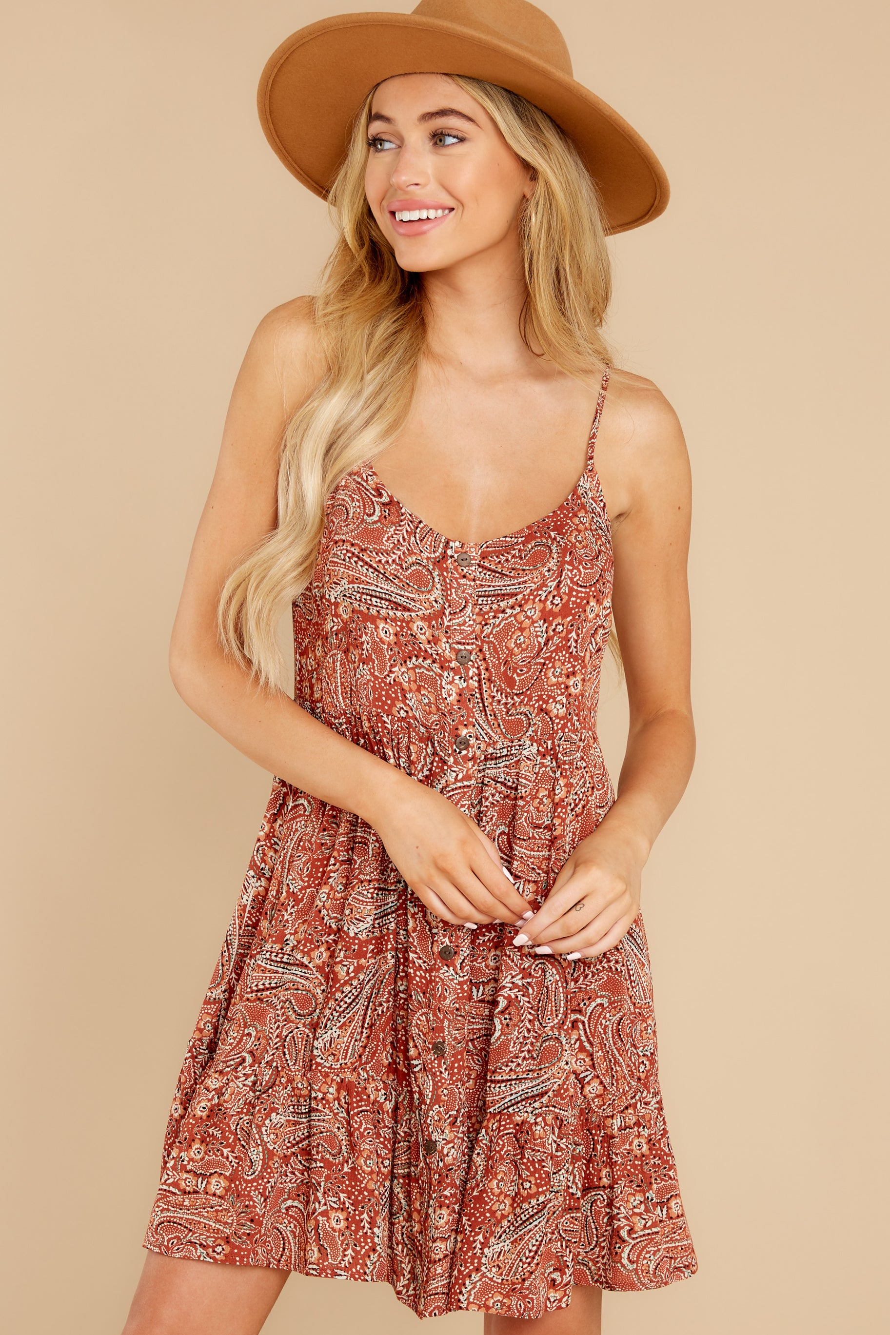 8 On Second Thought Rust Print Dress at reddress.com