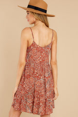 9 On Second Thought Rust Print Dress at reddress.com