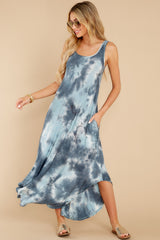 1 Easily Swayed Blue Tie Dye Maxi Dress at reddress.com