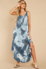 7 Easily Swayed Blue Tie Dye Maxi Dress at reddress.com