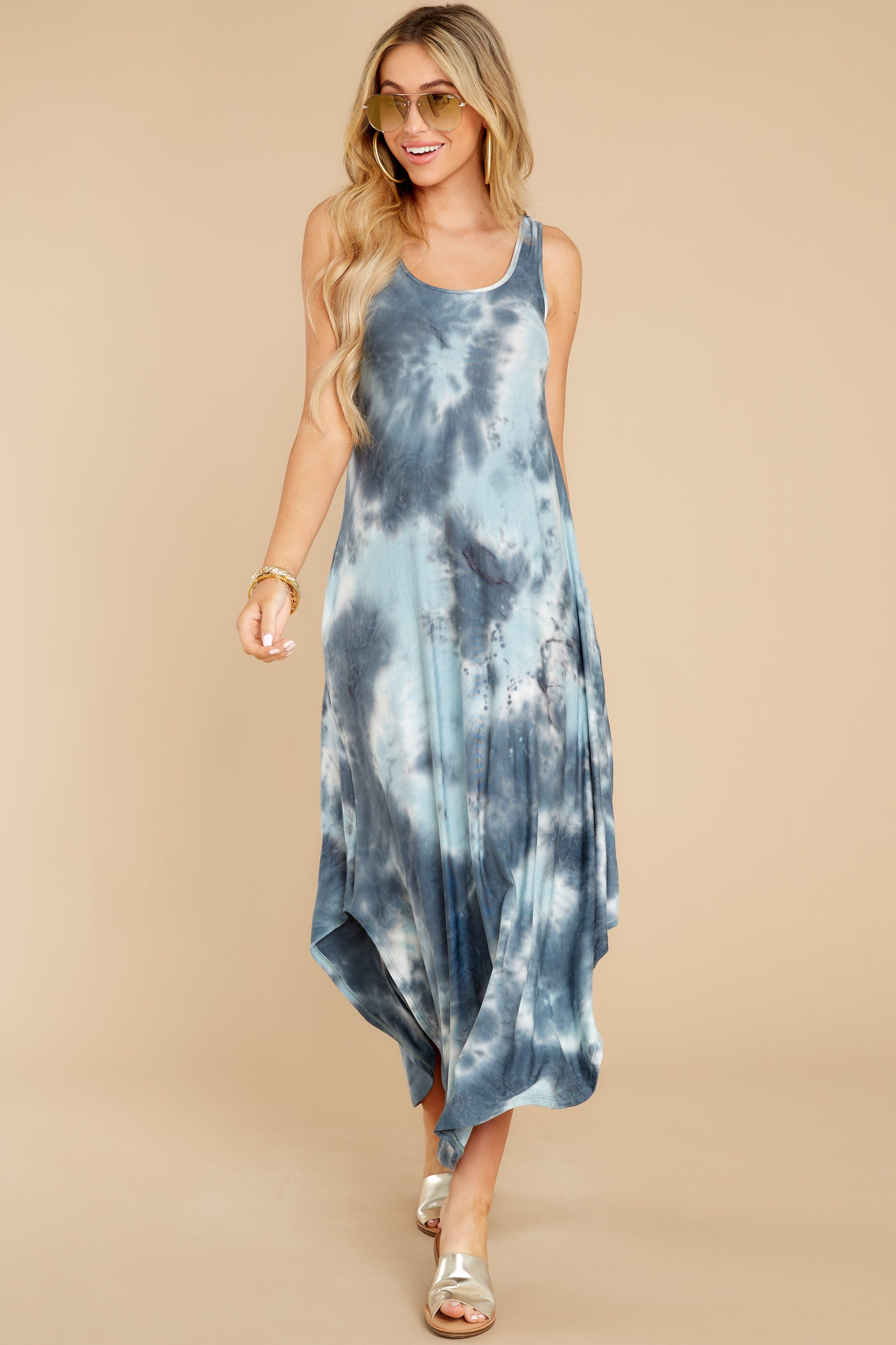 3 Easily Swayed Blue Tie Dye Maxi Dress at reddress.com