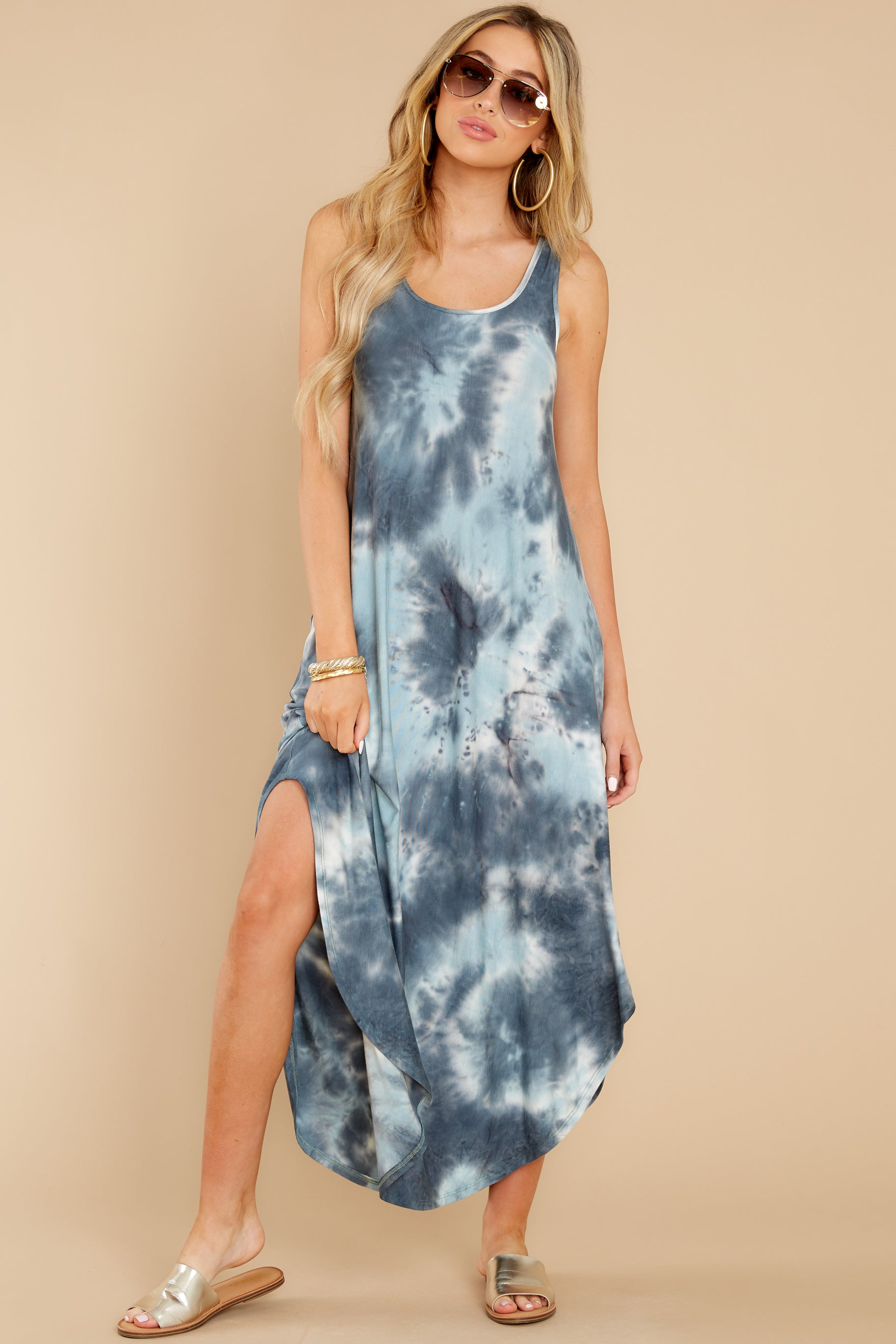 5 Easily Swayed Blue Tie Dye Maxi Dress at reddress.com