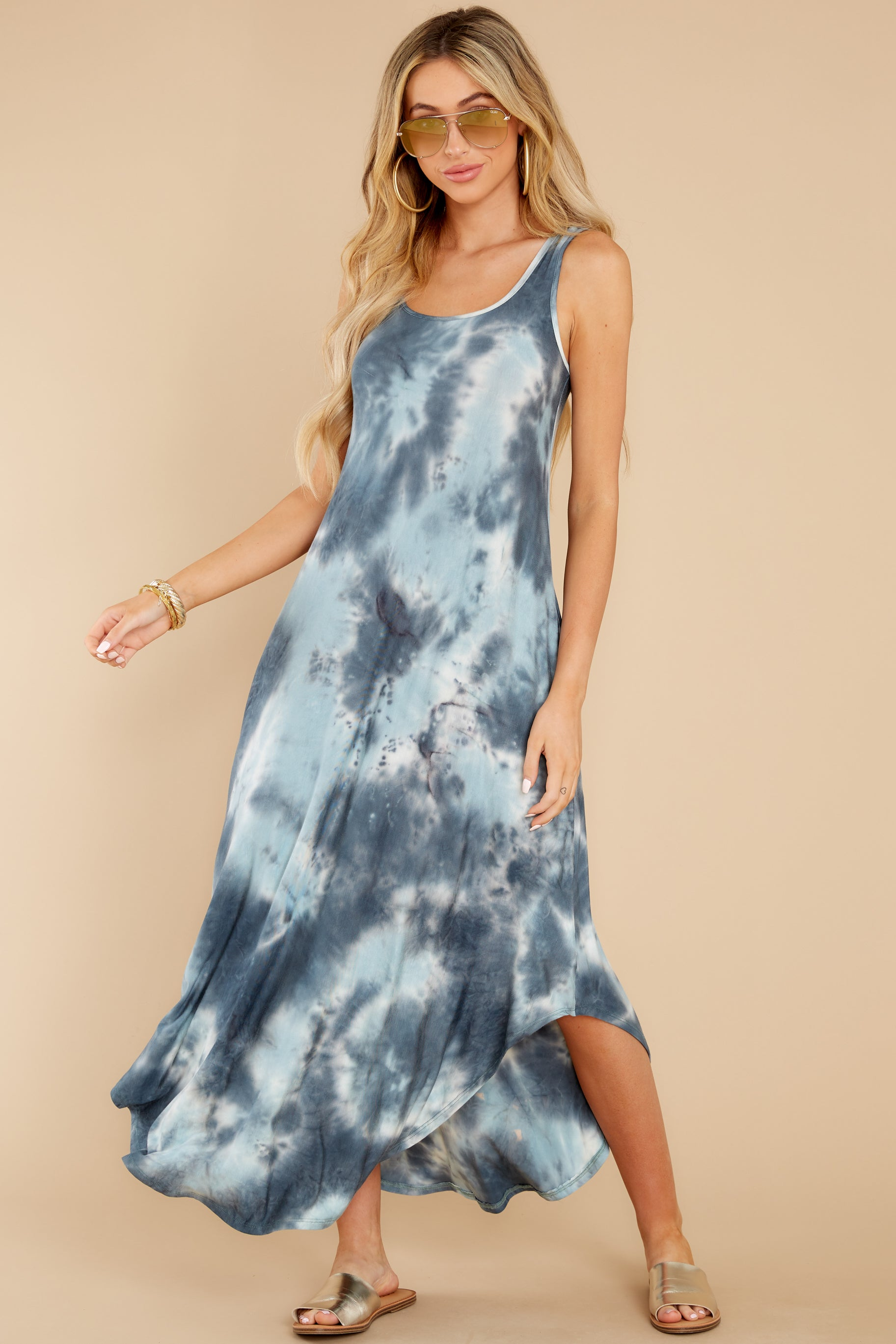 2 Easily Swayed Blue Tie Dye Maxi Dress at reddress.com