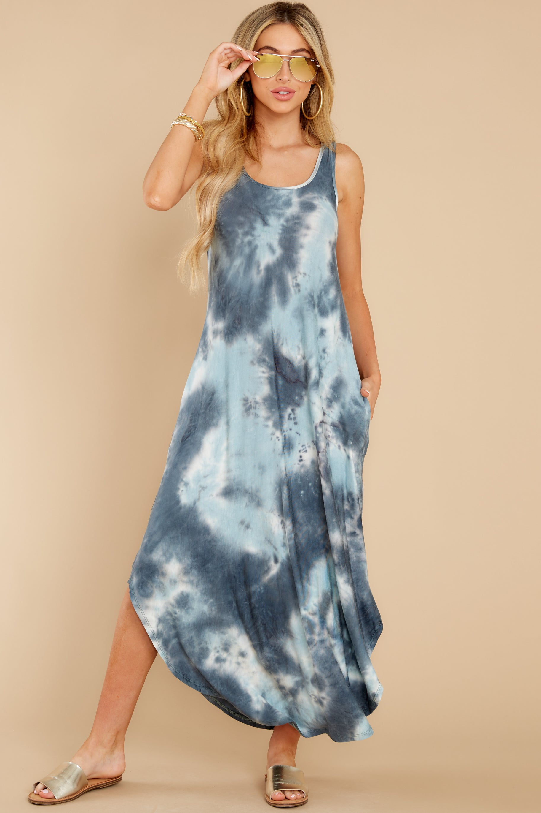 6 Easily Swayed Blue Tie Dye Maxi Dress at reddress.com