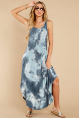 4 Easily Swayed Blue Tie Dye Maxi Dress at reddress.com