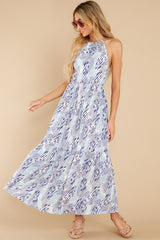 7 Standing Water Blue Multi Print Maxi Dress at reddress.com