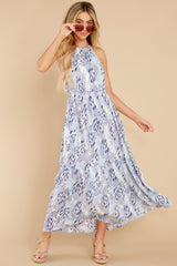 5 Standing Water Blue Multi Print Maxi Dress at reddress.com